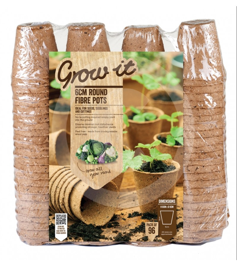 "Grow It - 96 Peat Free Fibre Pots (2 1/2"")"