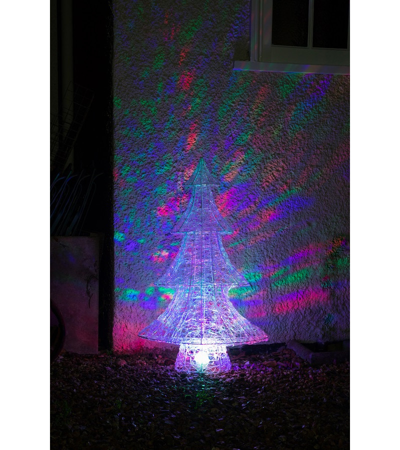 Northern Lights Acrylic Tree with Multicoloured Disco Lights - 1M