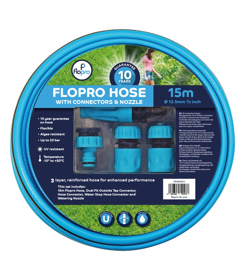 15 Metre Flopro 100 Hose (with connectors and nozzle)