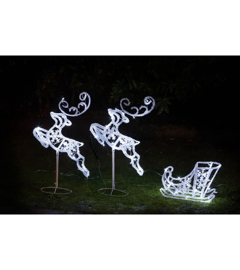 Acrylic Flying Reindeers and Sleigh 96cm