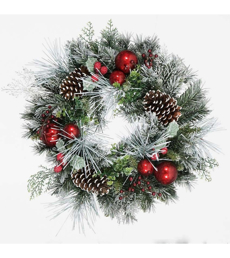 Flocked Mixed Wreath - 45cm