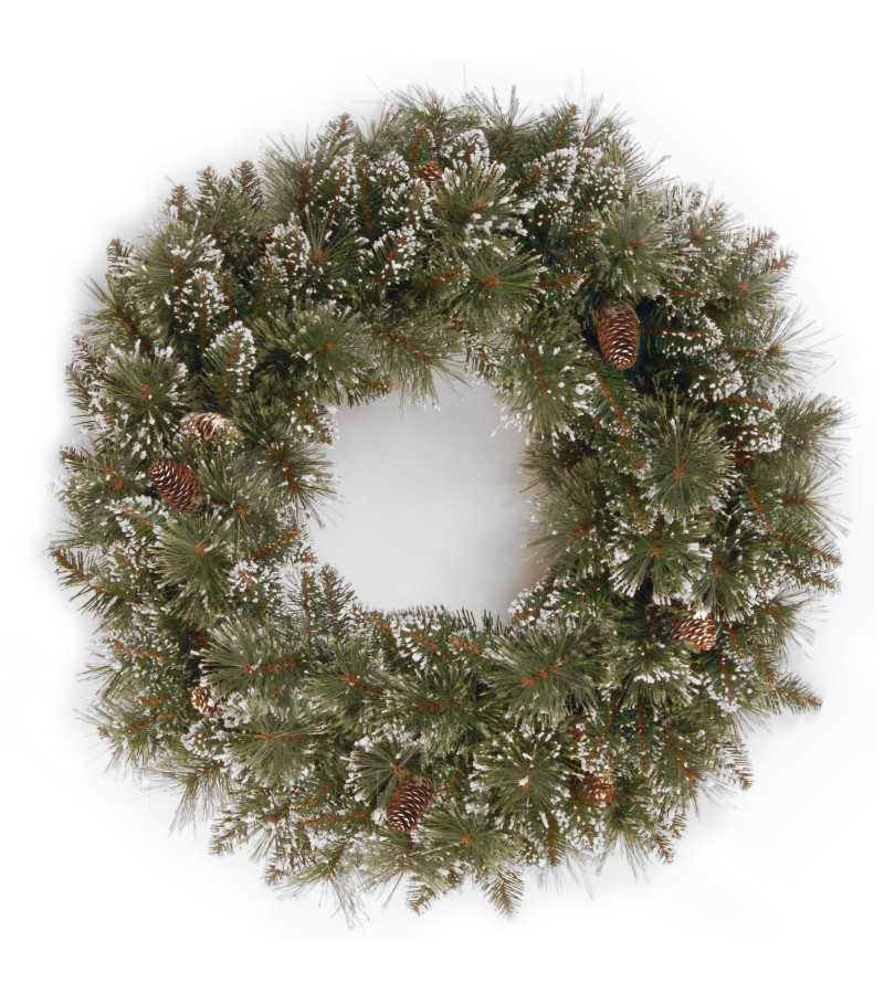 Glittery Bristle Pine Wreath - 24""