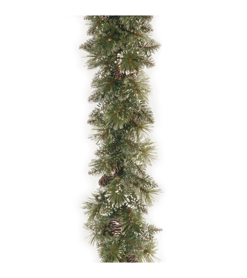 Glittery Bristle Pine Garland - 9ft
