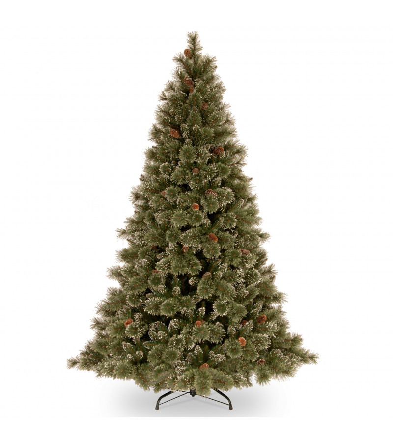 Glittery Bristle Slim Pine Tree -  7.5ft
