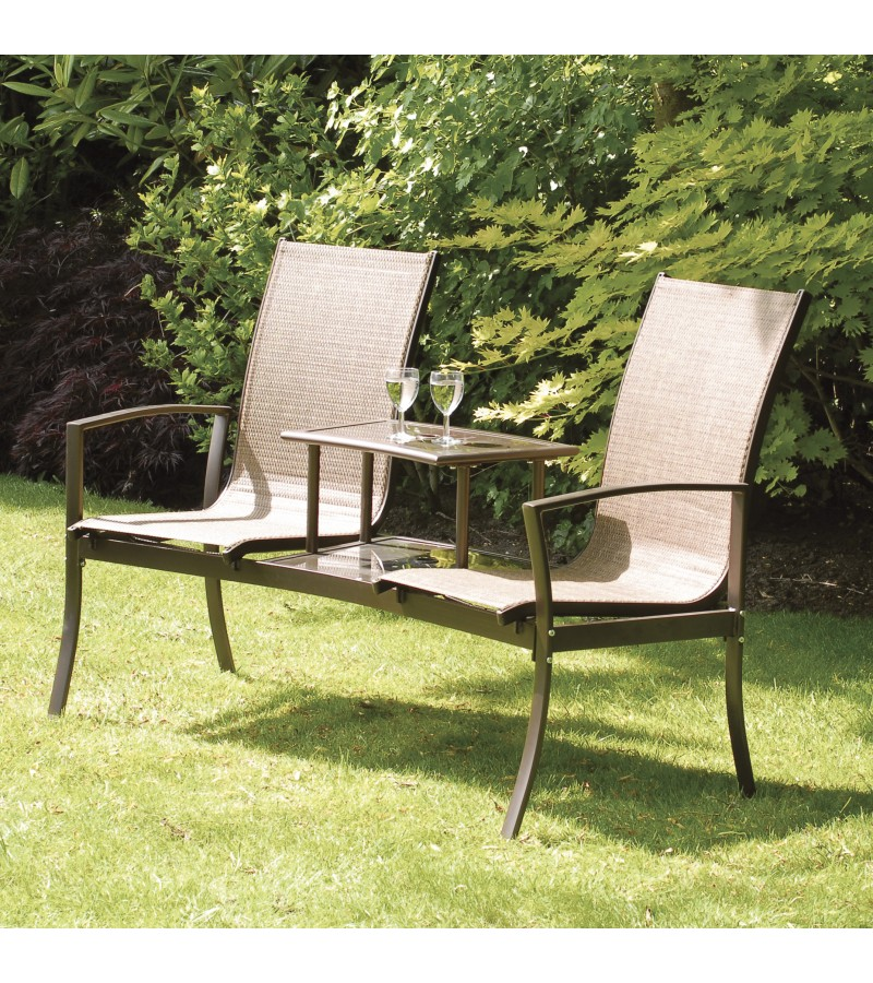 Havana Duo Seat with Glass Table, in Bronze and Dark Brown