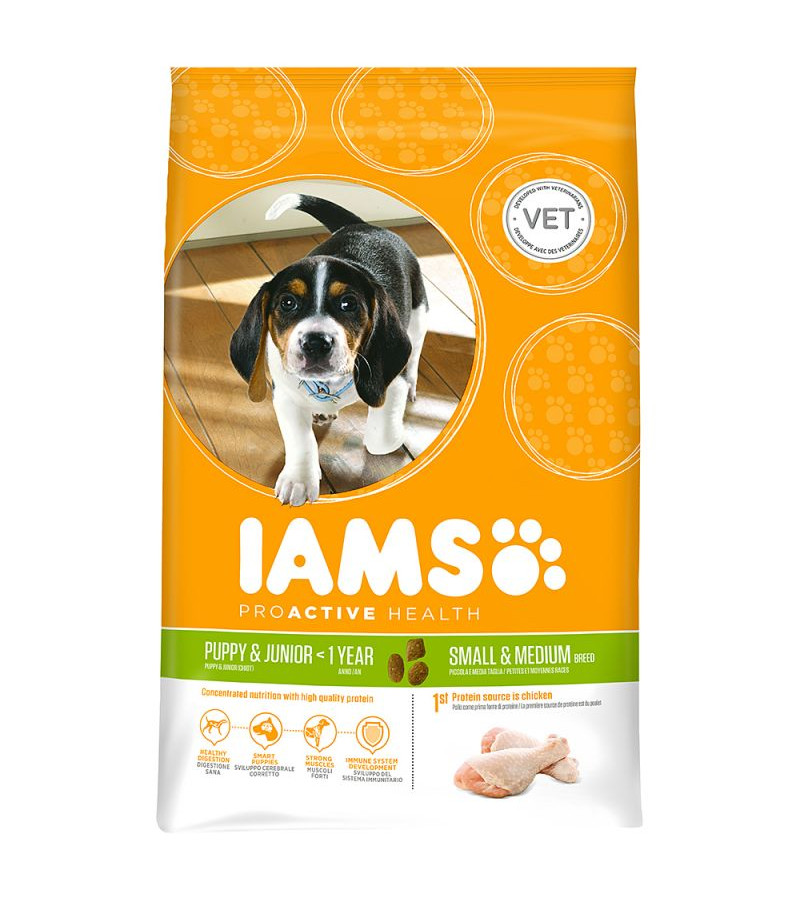 Iams Proactive Health Puppy & Junior (Sml/Med) Dry Food - 12Kg