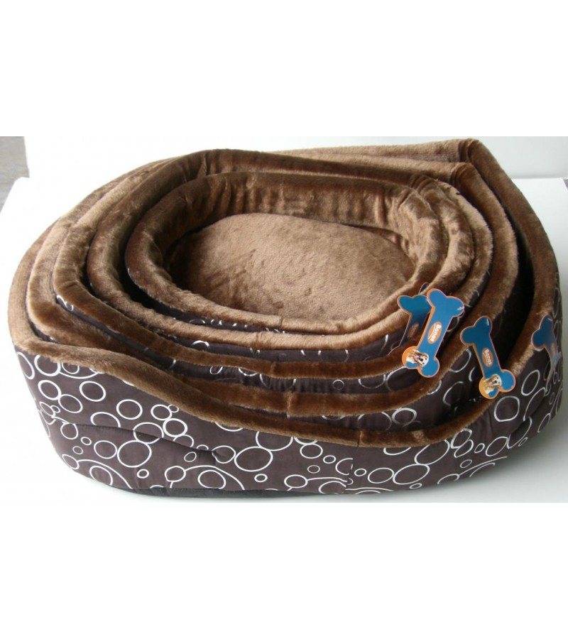 Chocolate and Silver Bubble Pattern Bed, Large