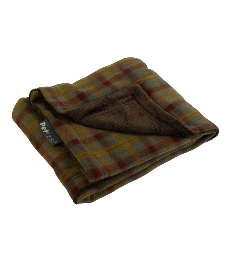 """Warm and Cosy"" Pet Blankets green brown check"