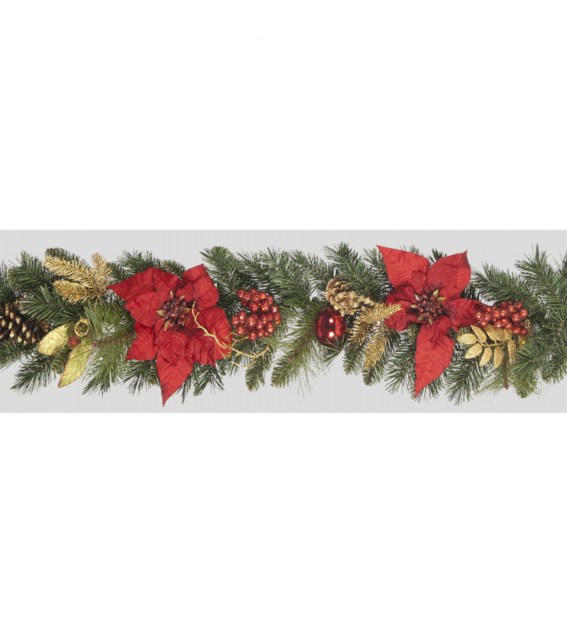 Red Poinsettia Garland- 180cm