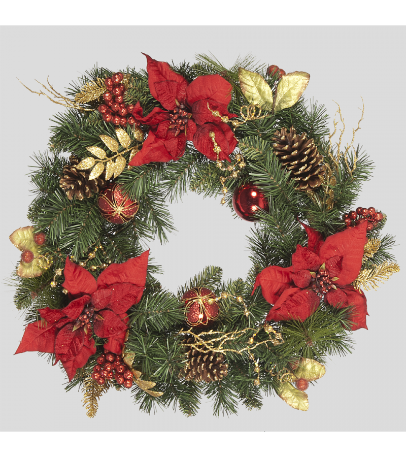 Red Poinsettia Wreath - 60cm