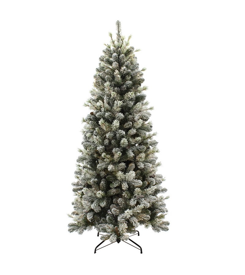 Snowy Pine Cone Slim Hinged Tree -  7.5ft