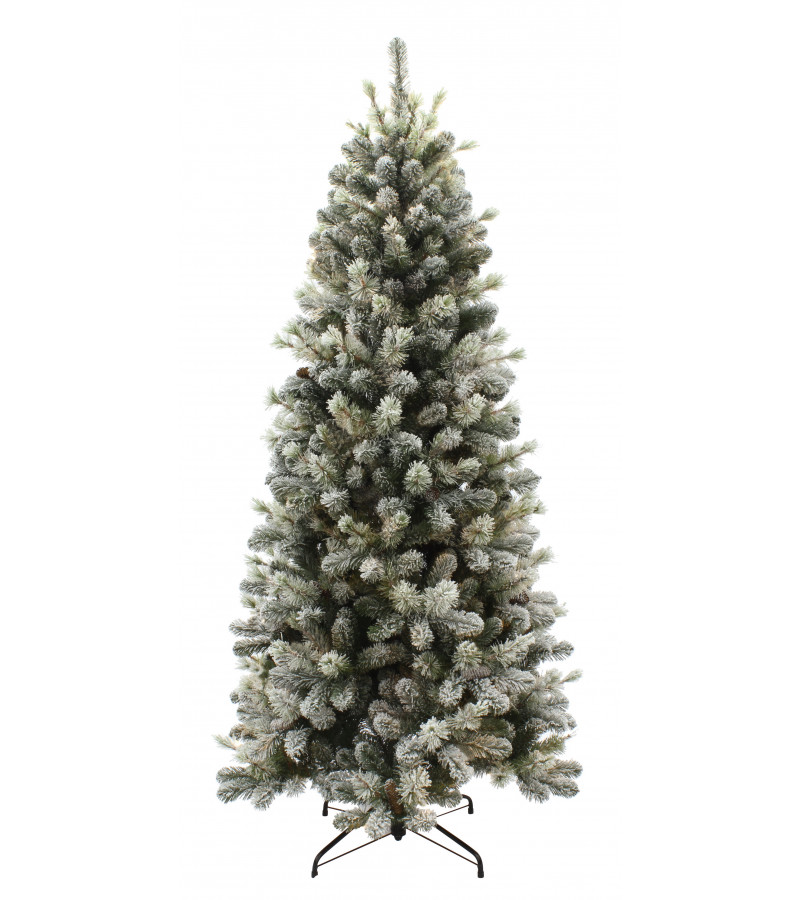Snowy Pine Cone Slim Tree - 6.5ft