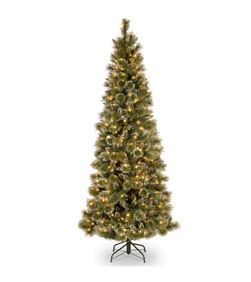 Glittery Bristle Pine Slim Tree (Pre Lit) - 6.5ft