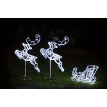 Acrylic Flying Reindeers and Sleigh 96cm