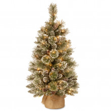 Glittery Bristle Artificial Pine Tree (Pre Lit) - 3ft