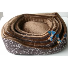 Chocolate and Silver Bubble Pattern Bed, XS
