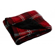 """Warm and Cosy"" Pet Blankets red tartan and black"