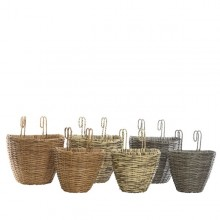 Rattan Balcony Planter Basket (Large) Dark Grey Colour