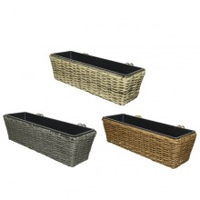 Rattan Balcony Planter Light Grey Colour