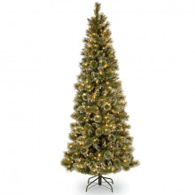 Glittery Bristle Pine Slim Tree (Pre Lit) - 6.5ft