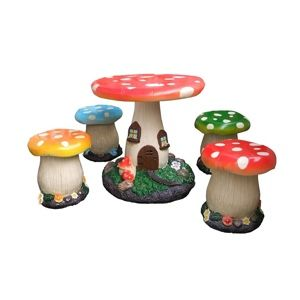 5 Piece Toadstool Garden Set