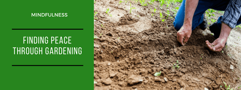 Finding pece through gardening banner