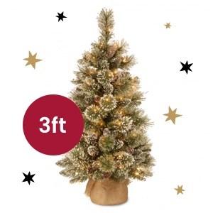 Glittery Bristle Artificial Pine Tree (Pre Lit) - 3ft